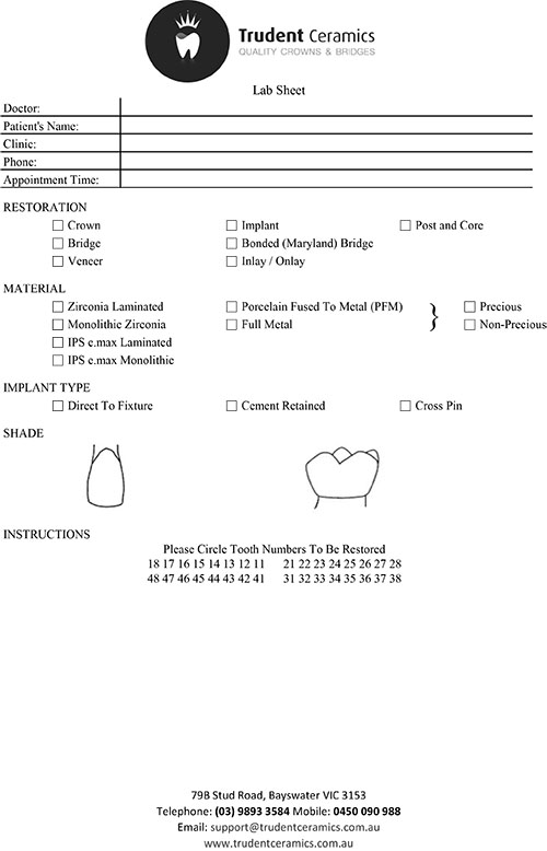 Trudent Ceramics Lab Sheet